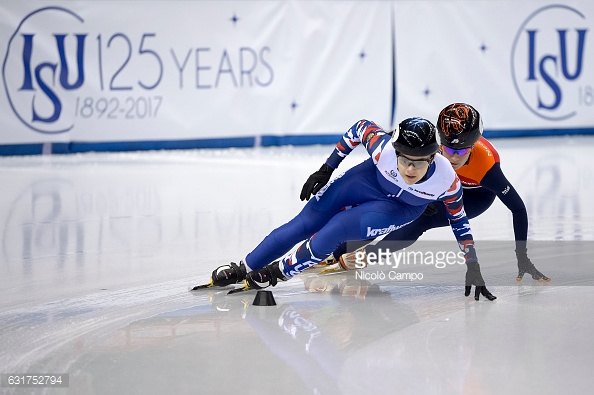 PALAVELA, TURIN, ITALY - 2017/01/15: Sofia Prosinova (left) of Russia and  Yara van Kerkhof of Netherlands in action in the 100m Ladies semifinal during the European Short Track Speed Skating championships in Turin. (Photo by Nicolò Campo/LightRocket via Getty Images)