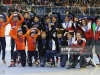 GANGNEUNG, SOUTH KOREA - DECEMBER 18:  Silver medalists Suzanne Schulting, Yara van Kerkhof, Lara van Ruijven and Rianne de Vries of Netherlands, gold medalists Choi Min-Jeong, Shim Suk-Hee, Noh Do-Hee and Kim Ji-Yoo of South Korea and bronze medalists Marianne St-Gelais, Kasandra Bradette, Valerie Maltais and Kim Boutin of Canada celebrate during the victory ceremony for the Ladies 3000m Relay Finals during the ISU World Cup Short Track 2016 on December 18, 2016 in Gangneung, South Korea.  (Photo by Chung Sung-Jun - ISU/ISU via Getty Images)