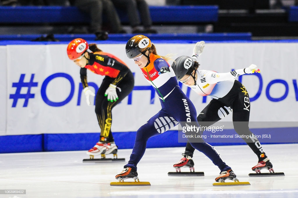 CALGARY, AB - NOVEMBER 3: Yara van Kerkhof of the Netherlands takes first in heat 2 of the 500m quarterfinals with a time of 43.675s during the ISU World Cup Short Track Calgary at the Olympic Oval on November 3, 2018 in Calgary, Alberta, Canada. (Photo by Derek Leung - International Skating Union (ISU)/ISU via Getty Images)