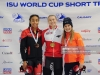 CALGARY, AB - NOVEMBER 3: (L to R) Alyson Charles of Canada, Natalia Maliszewska of Poland and Yara van Kerkhof of the Netherlands pose with their medals after placing in the 500m women's final during the ISU World Cup Short Track Calgary at the Olympic Oval on November 3, 2018 in Calgary, Alberta, Canada. (Photo by Derek Leung - International Skating Union (ISU)/ISU via Getty Images)