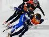SALT LAKE CITY, UT - NOVEMBER 11:  Yara van Kerkhof of the Netherlands leads a quarterfinal 500m race during ISU World Cup Short Track Salt Lake City at the Utah Olympic Oval on November 11, 2018 in Salt Lake City, Utah.  (Photo by Alex Goodlett - International Skating Union (ISU)/ISU via Getty Images)