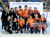 ALMATY, KAZAKHSTAN - DECEMBER 09: The team of Republic of Korea with Choi Min Jeong, Kim Geon Hee, Kim Ji Yoom and Shim Suk Hee (L) poses after winning the second place, the team of the Netherlands with Rianne de Vries, Suzanne Schulting, Yara van Kerkhof and Lara van Ruijnen poses after winning the first place and the team of Canada with Danae Blais, Kim Boutin, Alyson Charles and Camile de Serres-Rainville poses after winning the third place of the ladies 3000 meter relay final A race of the ISU Short Track World Cup Day 2 at Halyk Arena on December 9, 2018 in Almaty, Kazakhstan. (Photo by Christof Koepsel - International Skating Union (ISU)/ISU via Getty Images)