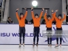 ALMATY, KAZAKHSTAN - DECEMBER 09: The team of the Netherlands with Rianne de Vries, Suzanne Schulting, Yara van Kerkhof and Lara van Ruijnen poses during the medal ceremony after winning the 1st place during the during the ladies 3000 meter relay final A race of the ISU Short Track World Cup Day 2 at Halyk Arena on December 9, 2018 in Almaty, Kazakhstan. (Photo by Christof Koepsel - International Skating Union (ISU)/ISU via Getty Images)