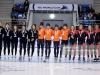 ALMATY, KAZAKHSTAN - DECEMBER 09: The team of Republic of Korea with Kim Geon Hee, Kim Ji Yoom and Shim Suk Hee (L) poses after winning the second place, the team of the Netherlands with Rianne de Vries, Suzanne Schulting, Yara van Kerkhof and Lara van Ruijnen poses after winning the first place and the team of Canada with Danae Blais, Kim Boutin, Alyson Charles and Camile de Serres-Rainville poses after winning the third place of the ladies 3000 meter relay final A race of the ISU Short Track World Cup Day 2 at Halyk Arena on December 9, 2018 in Almaty, Kazakhstan. (Photo by Christof Koepsel - International Skating Union (ISU)/ISU via Getty Images)